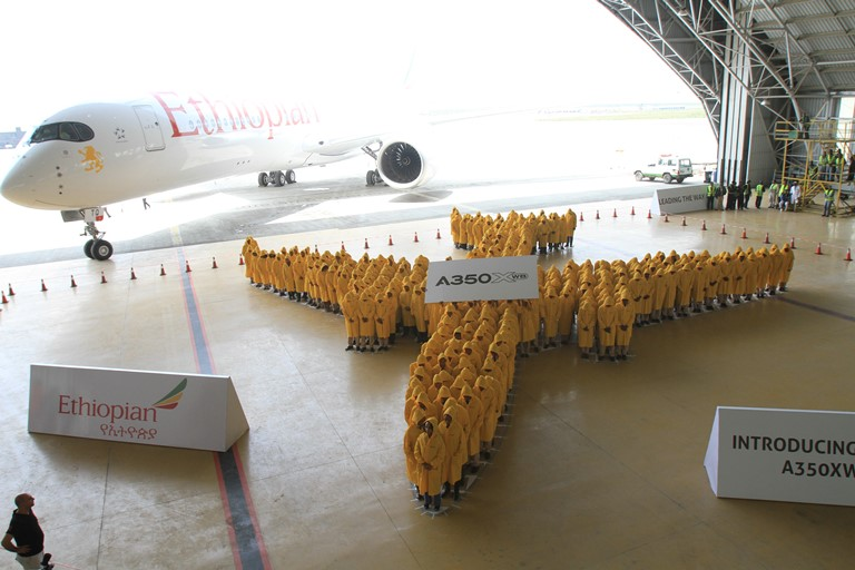 Ethiopian graced Africa's first Airbus A350 reception by breaking  Guinness World Record for Largest Human Image of an Airplane