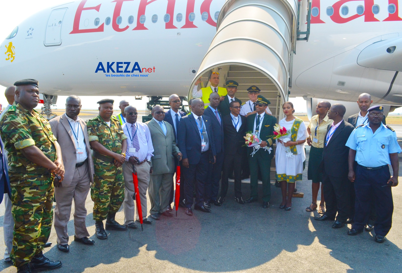 Ethiopian's Airbus A350 XWB, the first of its type ever in the African airspace welcomed with great fanfare in Bujumbura