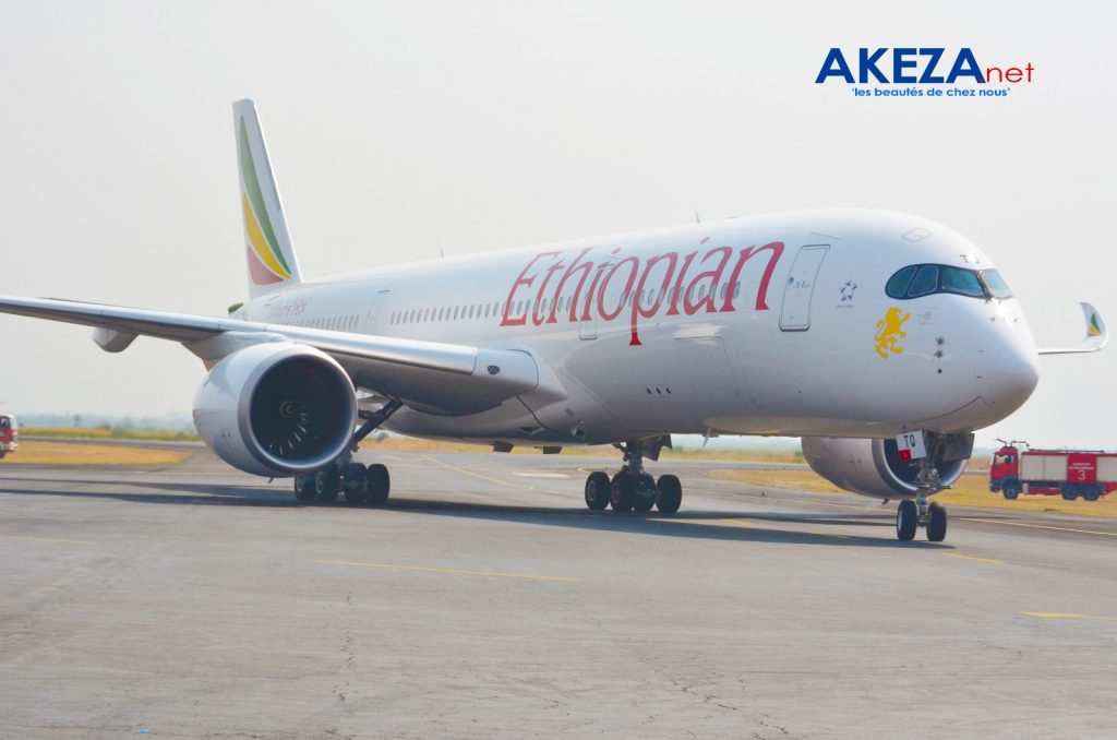 Ethiopian's Airbus A350 XWB aircraft at Bujumbura International airport