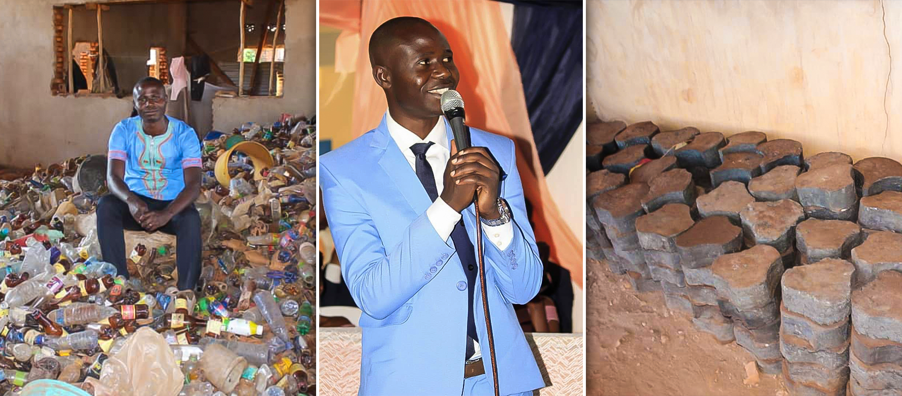 Jean Marie NIZIGIYIMANA is making pavement tiles from plastic waste!